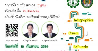 """""""การพัฒนาทักษะทาง Digital เพื่อผลิตสื่อ Multimedia สำหรับนักศึกษาเตรียมทำงานยุควิถีใหม่"""""""